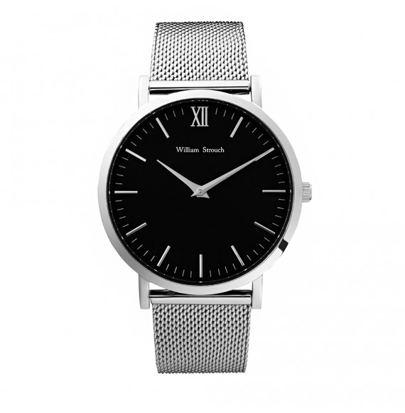 Silver and black watch