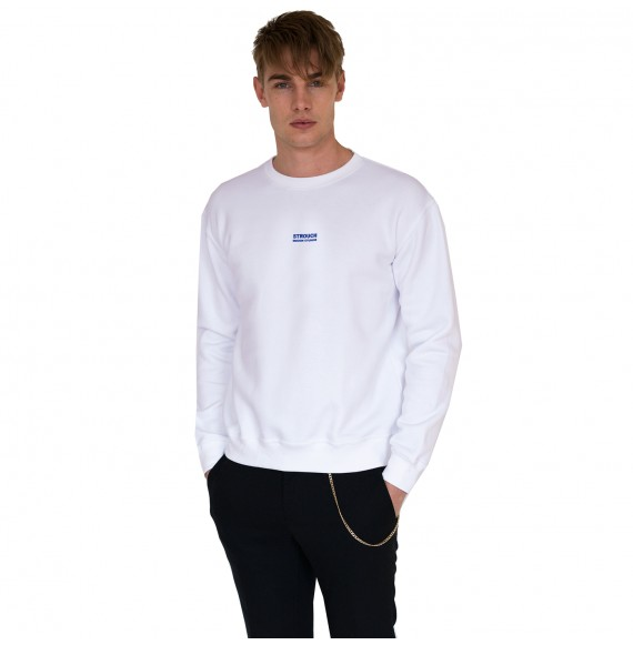 White sweatshirt blue logo