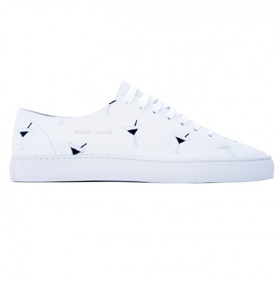 White cocktail embroidery sneakers