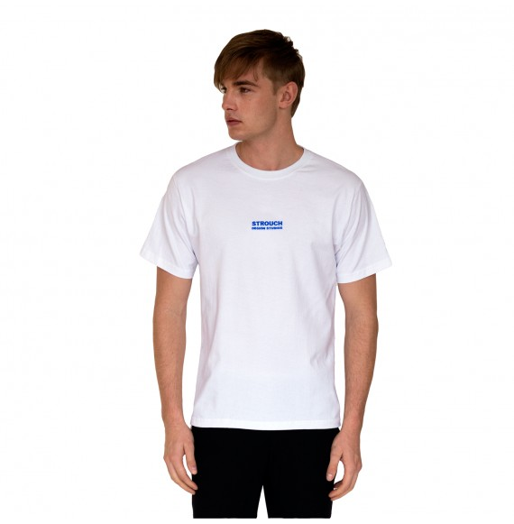 white t-shirt blue logo